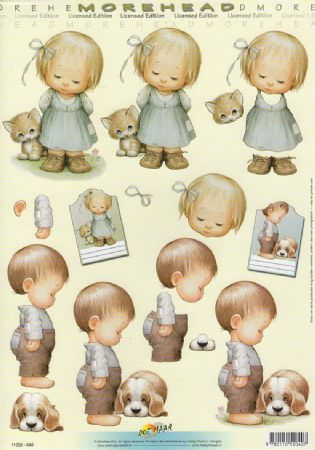 Morehead Little Boy & Girl with a Kitten & Puppy 3D Decoupage Sheet